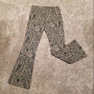 H&M  Black & Gold Paisley Flare Pants Sz Med